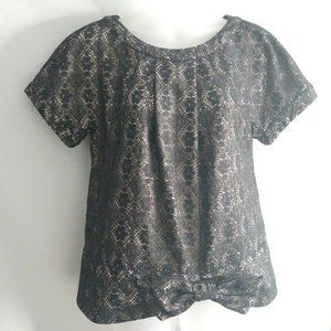 Marc Jacobs Women Top Small Bow Black Blouse Lace